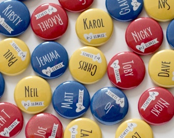 Wedding Name Tags, Place Card Pins, Personalized Buttons, Seating Chart, Bright Colored, Table Name Cards, Bridal Shower Favor Custom Badges