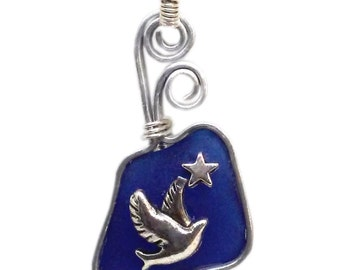 Cobalt Blue Sea Glass with Bird Necklace