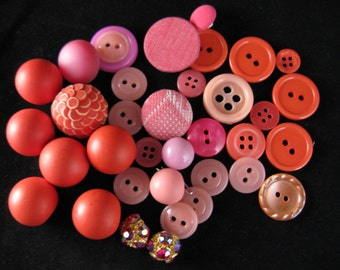vintage pink button collection.  1950's + 1960's gorgeous shades of pink buttons.