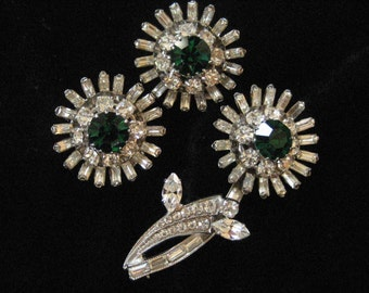 1950's Clear and Green Rhinestone Demi Parure