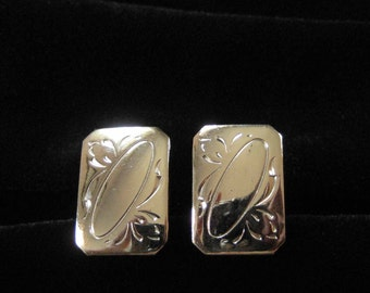 Vintage Silver Tone Chased Metal Cuff Links