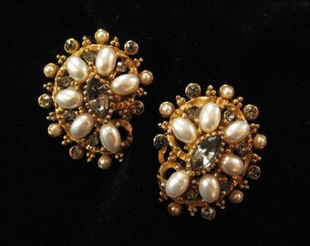 ART Signed Faux Pearl and Smoky Rhinestone Earrings