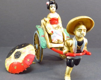 Oriental Celluloid Figurine Vintage 1930s Dragon Rickshaw Geshia Miniature