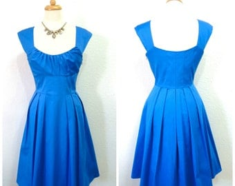 Vintage 1980s Dress Blue Cotton CALVIN KLEIN Cobalt blue Summer Dress S