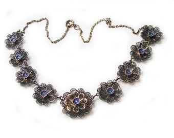 Free Shipping Art Deco Filigree Sterling Silver Vermeil Necklace Enameled Flowers Decoration Links