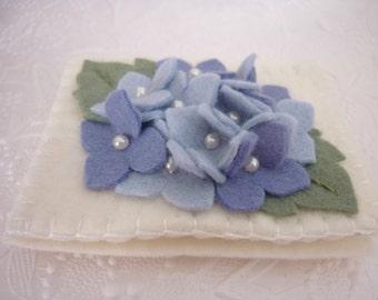Felt Flower Needle Book Blue Hydrangea Pinkeep Needlebook  Quilter Sewing