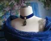Vintage Blue Velvet Blue Crystal Pink Floral Necklace Choker