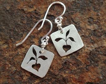 Recycled sterling silver beet earrings