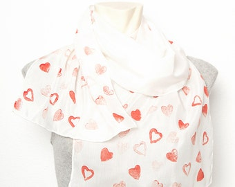 Valentines' Day Present Hand Printed Silk Cotton Scarf with Sweet Heart Style Design Red White