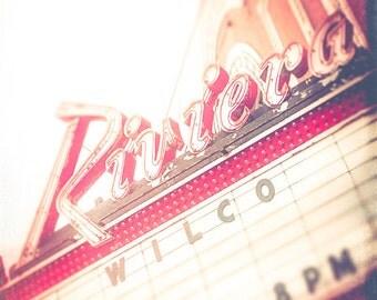 The Riviera- Chicago theatre photography - wall art print - Wilco, The Riv, cranberry red, cherry, retro, music venue, Chicago wall decor