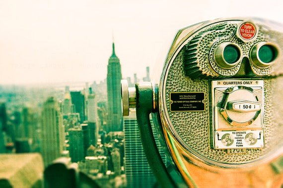 Photography New York City skyline - viewfinder, urban wall decor - Viewpoint - tangerine, ultramarine green, Manhattan skyline