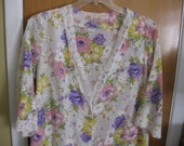 Vintage Le Voys Spring  Flowers Long Robe