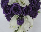 Real Touch / Latex Calla lilys and Silk Purple Roses,Crystal  Wedding Cascade Cascading Bouquet Ivory,Cream Off-White.