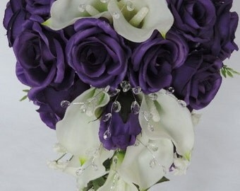Purple Roses, Ivory Off - White Real Touch Calla lily, Crystal Accents, Silk Wedding Bridal Cascade Cascading Bouquet