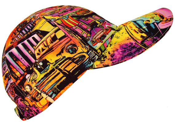 Deco Derby - Car Print Baseball Ball Cap Classic Vintage Club Show Multi Color Ladies Bright Neon Graffiti Style Fashion Hat by Calico Caps