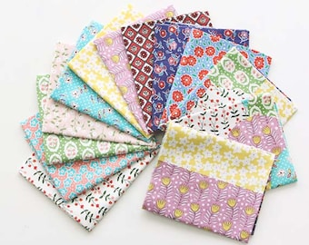 Lovely Florals on Cotton FAT Eighth set of 13, U229