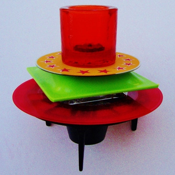 Red Kitchen Glassware: RETRO Kitchen Art Red Glass Votive Mid Century Cast Iron 60s