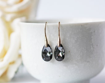 Black Swarovski Silver Night Crystal Gold Earrings Teardrop Shape Modern Glamorous Classy