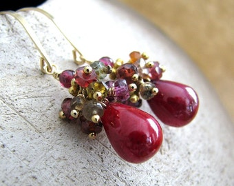 Red Ruby Earrings, Natural Ruby Earrings, Gold Earrings, Sapphire Cluster, Ruby Gemstone Earrings, July Birthstone - Red Passion