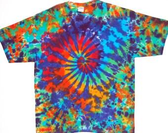Psychedelic Rainbow Tie Dye Shirt Rainbow Spiral Blotter Tye Dye short sleeve Adult T-shirt 2x 3x 4x hippie art Grateful Dead S/S