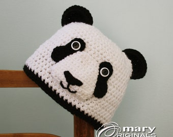 Panda Bear Hat, Bear Hat, Animal Hat, Crochet Beanie, Winter Hat, Men, Women, Boys, Girls, Holiday Gift, Halloween Costume, Crochet Panda