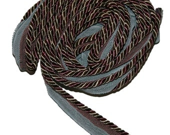 Coral, gold and a sage green twisted 1/4  inch  Decorative cord with lip 5 yards
