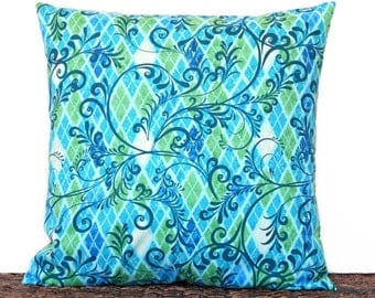 Turquoise Swirl Pillow Cover Geometric Blue Lime Green Apple Green Navy Blue Diamond Argyle Decorative 18x18