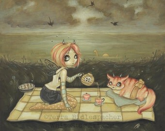 Lowbrow TEA PARTY picnic fairy girl fantasy art print big eye pop surreal - A Most Gracious Outing