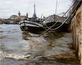 Paris Boat Oil Painting - 15x12in Giclee Print