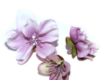 10 Lilac Colored Peach Blossoms- Artificial Flowers, Silk Blossoms