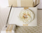 Wedding Guest Book and Pen set Ivory Gold Champagne  Customizable in your Colors