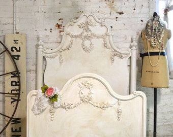 French Bed Painted Cottage Marie Antoinette Romantic Deluxe Twin / Full Bed
