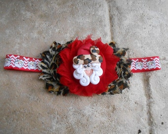 Santa red and leopard print  shabby flower headband   newborn-toddler-girls