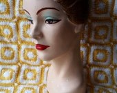 Vintage 50s chalkware head Vivian hat display bust painted short hair bedroom eyes