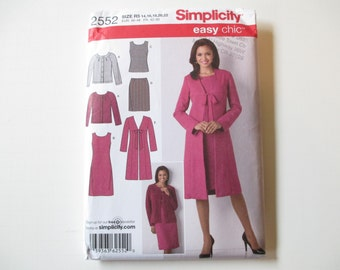 Misses' Dress or Top, Skirt, Coat and Cardigan Pattern, Uncut, Sizes 14, 16, 18, 20, 22