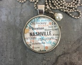 Map Pendant Necklace Nashville Tennessee TN
