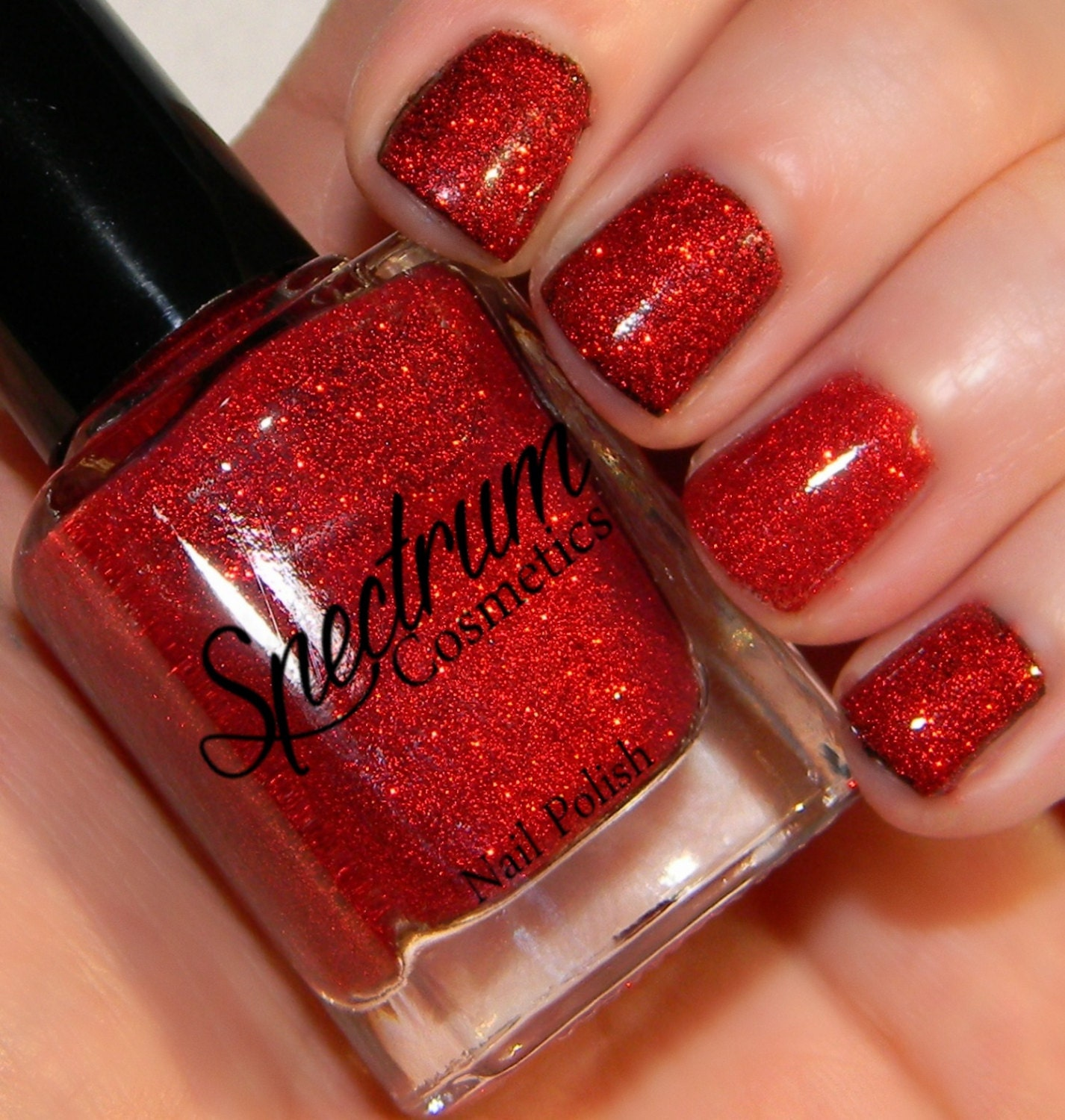 Shimmer And Sparkle Nail Polish: SANTA BABY Red Glitter Nail Polish From SpectrumCosmetic