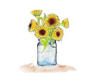 Sunflowers in a Canning Jar Note Cards - Set of Five Cards with Matching Envelopes