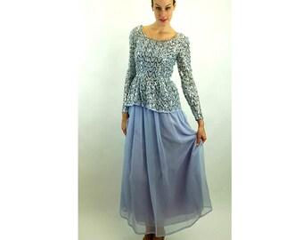 1970s formal gown lavender chiffon sequins peplum top long dress double layer sheer chiffon Size S