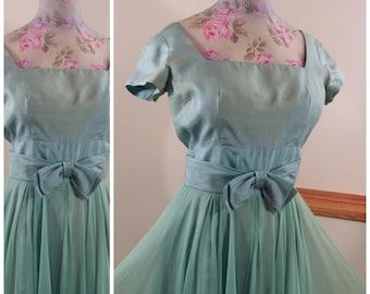 1960s Silk Dress Small Princess Pleated Gown silk chiffon beautiful balletesque Size 4-6