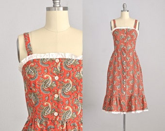 Vintage 1970s paisley dress • Lanz dress • 70s sun dress • xxs xs