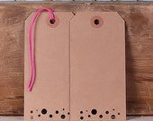 Large Brown Kraft Gift Tags with Polka Dot Cutouts, Christmas Gift Tags, Wedding Favor Tags, Brown Tags, Favor Tags, Parcel Tags (24)