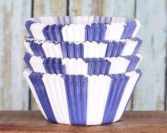 Dark Blue Striped Cupcake Liners, Blue Cupcake Wrappers, Circus Striped Cupcake Liners, Dark Blue Cupcake Liners, Navy Cupcake Liners (50)