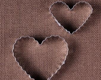 Ruffled Heart Cookie Cutter Set, Christmas Cookie Cutters, Valentine's Cookie Cutters, Wedding Cookie Cutters, Heart Biscuit Cutters