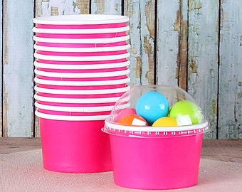 Small Pink Ice Cream Cups with Lids, Ice Cream Social Cups, Candy Favor Cups, Party Snack Cups, Cupcake Storage Cups (4 oz - 18 count)