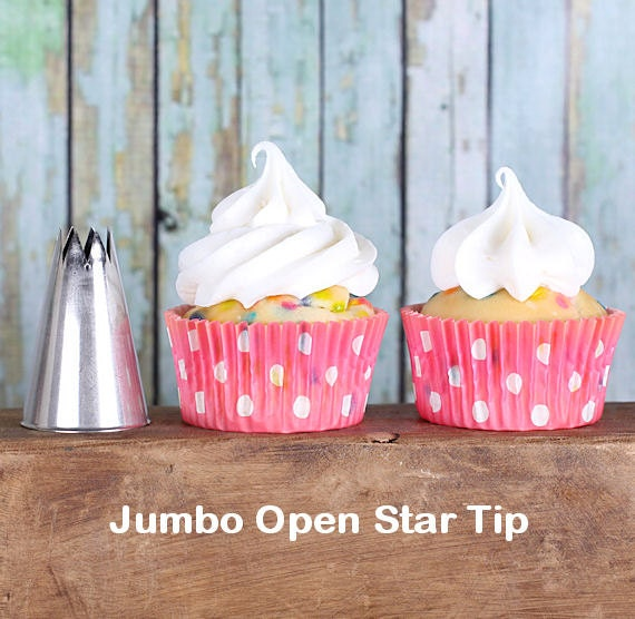 Jumbo Open Star Frosting Tips, EXTRA LARGE Frosting Tips, Cupcake Decorating Tubes, Pastry Tips, Frosting Tubes, Jumbo Frosting Tips