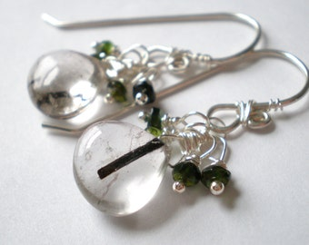 Tourmalinated Quartz Heart Briolette Earrings with Forest Green Tourmaline, Sterling Silver