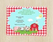 Birthday Party Invitations, Unisex, Red, Gingham, Picnic, Farm Animals, Oink, Moo, Set of 10 Printed Cards, BNYDB, Barnyard Birthday