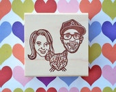 Portrait Stamp/ Family portrait stamp/ Face stamp/ Wedding invitation stamp/ Christmas gift/ Any texts on rubber stamp for FREE