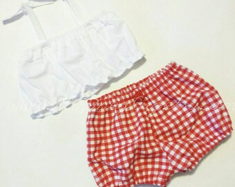Crop Top and Bloomers -Baby Toddler Girls Bloomers Shorts and Top - Summer, Birthday Pics, Beach- Birthday Gift- Red Gingham